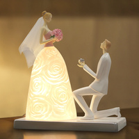 Fashion Marriage Table Lamps Person Statue Princess Court Royal Led Bed Lamp Resin Decoration Warm Romantic Bedroom Bedside Lamp