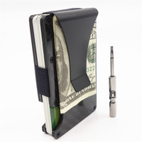 Metal Mini Money Clip Carbon Fiber Men ID Credit Card Holder Business Card Case Rfid Wallet