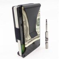 Metal Mini Money Clip Carbon Fiber Men ID Credit Card Holder Business Card Case Rfid Wallet