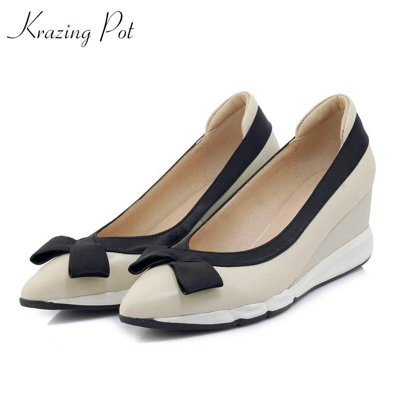 Krazing Pot cuir de vache beige couleur plate plate-forme mocassins papillon-noeud bout pointu loisirs preppy style chaussures vulcanisées L6f5