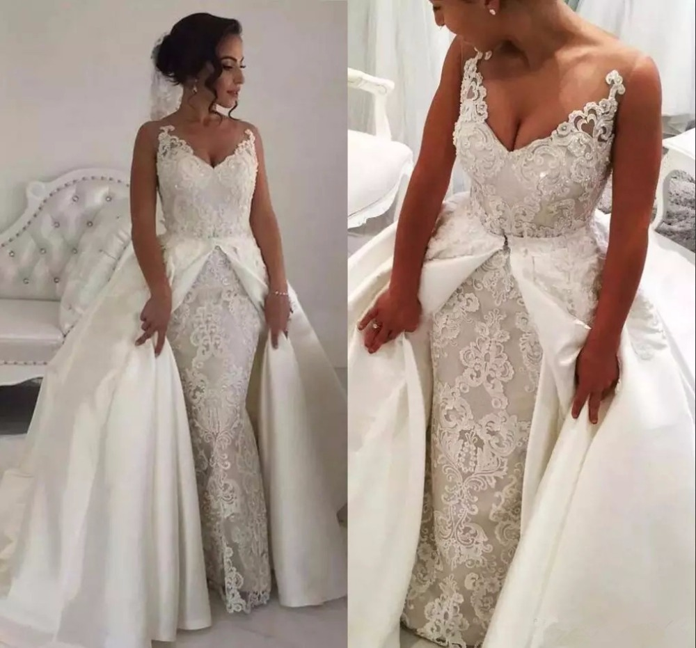 Real Photo Crystals Beading Wedding Dresses Sleeveless V Neck Bridal Gown 2019