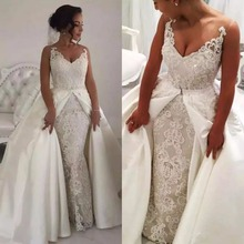 kejiadian Modest Crystals Lace Wedding Dresses Sleeveless