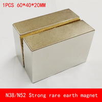 1PCS 60 40 20mm N38 N52 Oversize Strong Magnetic Force Rare Earth Neodymium Magnet Permanent N52
