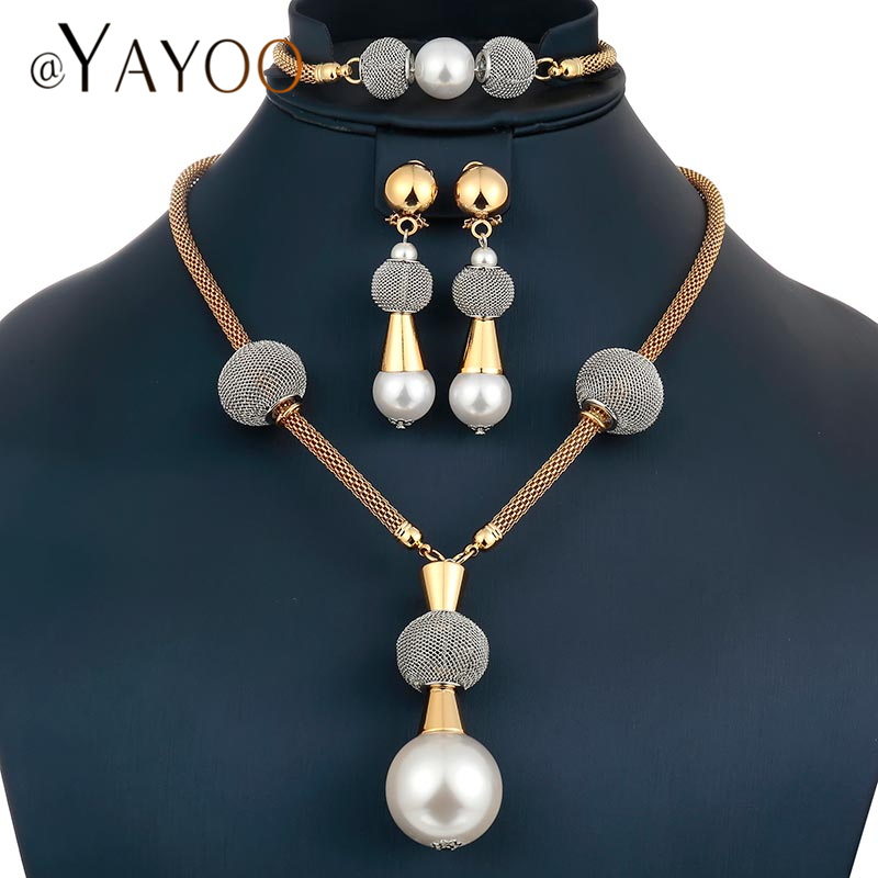 Ayayoo Simple African Beads Jewelry Set Fashion Women Bridal Sets Wedding Necklace Gold Color Jewelery Costume
