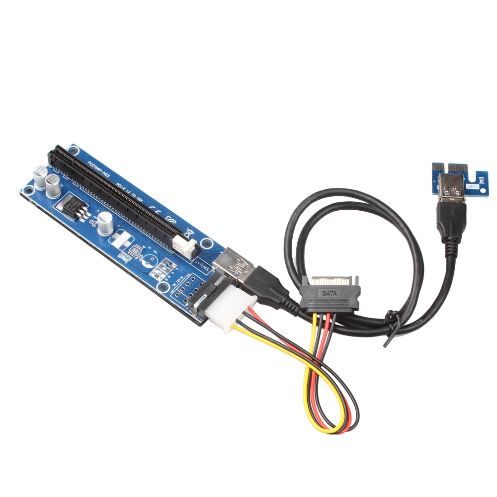 2017 New PCIe VER 006 PCI-E 1X to 16X Powered Riser Adapter Card w/ 60cm USB 3.0 Extension Cable & MOLEX to SATA Power Cable