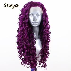 Peluca frontal de encaje sintético para mujeres blancas negras de alta temperatura pelucas de fibra de alta temperatura de Imeya 26