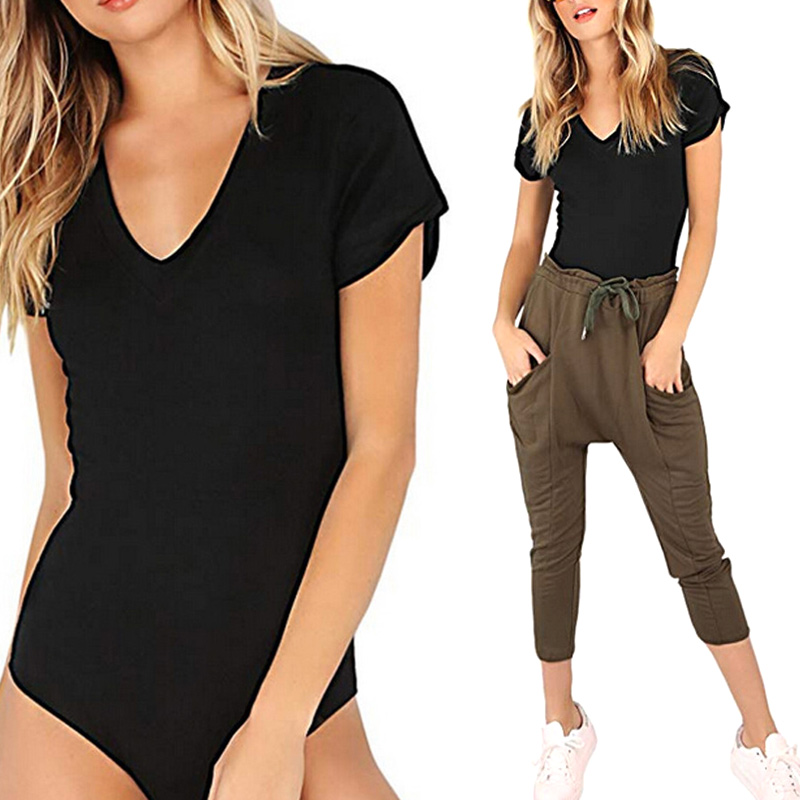 Women Jumpsuit Jumper Short Sleeve V Neck Solid Color Fashion For leotard Sexy Slim Bodycon Romper H9