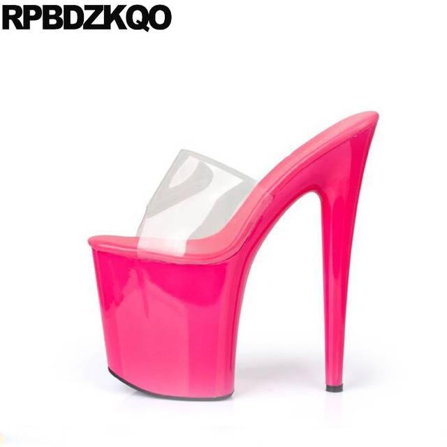 placeholder Stripper Shoes Crossdressed Large Size 11 Fetish Stiletto  Slides Women Glass Slipper Sandals Pumps Perspex Platform f0d87d8f6fc2