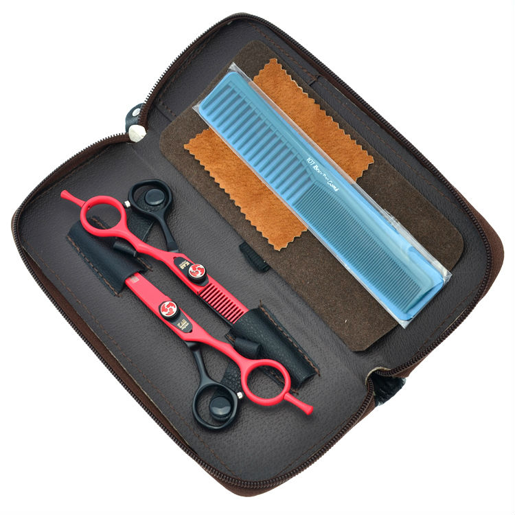 6.0 Barber Hair Scissors Set Flame Screw Cutting Thinning Hairdressing Shears Salon Hairdresser Tools, LZS0183