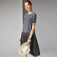 100% Silk Dress Women Printed Pleated Design O Neck Short Sleeve Dropped Waist Grade Fabric Casual Dress Summer New Fashion 2019