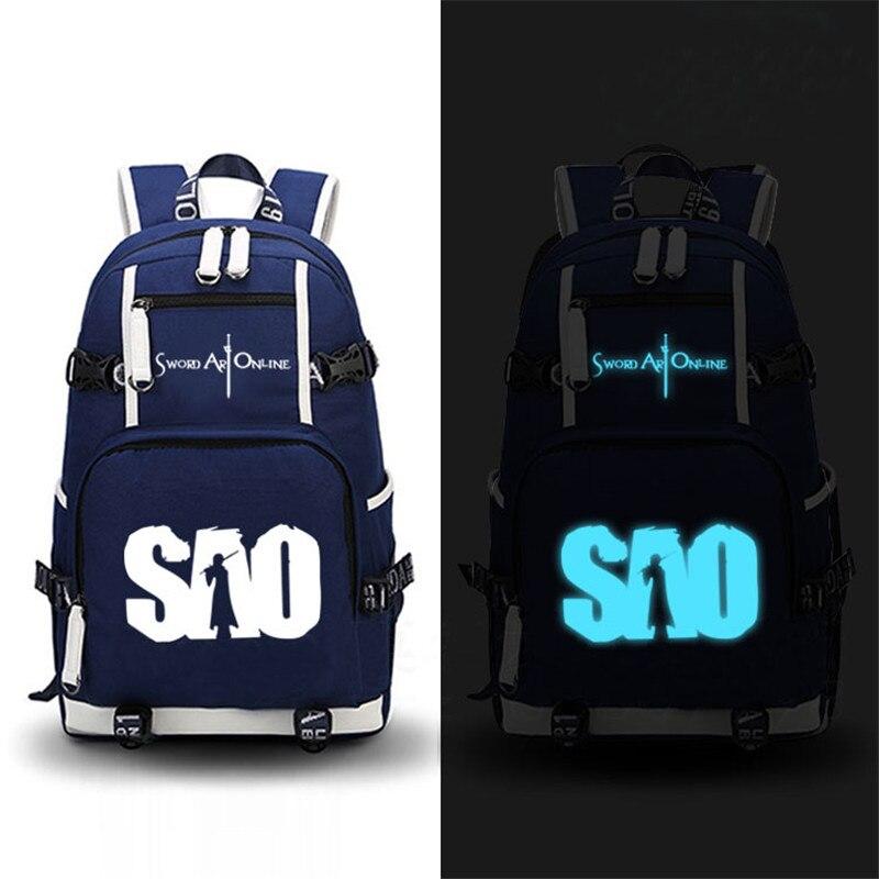 Sac à dos en toile impression lumineuse sacs à dos d'école pour les adolescentes épée Art en ligne SAO Design Mochila Feminina sacs pour ordinateur portable
