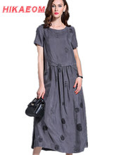 O-neck Maxi Dresses 2016 New Women Grey Robes Cotton Linen Plus Size Long Designer Loose Oversized Print Vintage Robe Maxi Dress