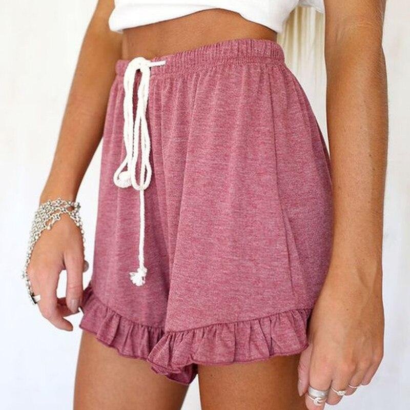 Ruffle Leg Mini Shorts Women Solid Beach Summer Shorts Female Streetwear Drawstring 3XL Elastic Hight Waist Shorts  Hot
