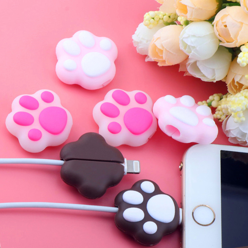 Cartoon Pink Cat Paws Cable bite protector  for Original iphone usb cable Cartoon organizer winder Cute Animal Cable Holder