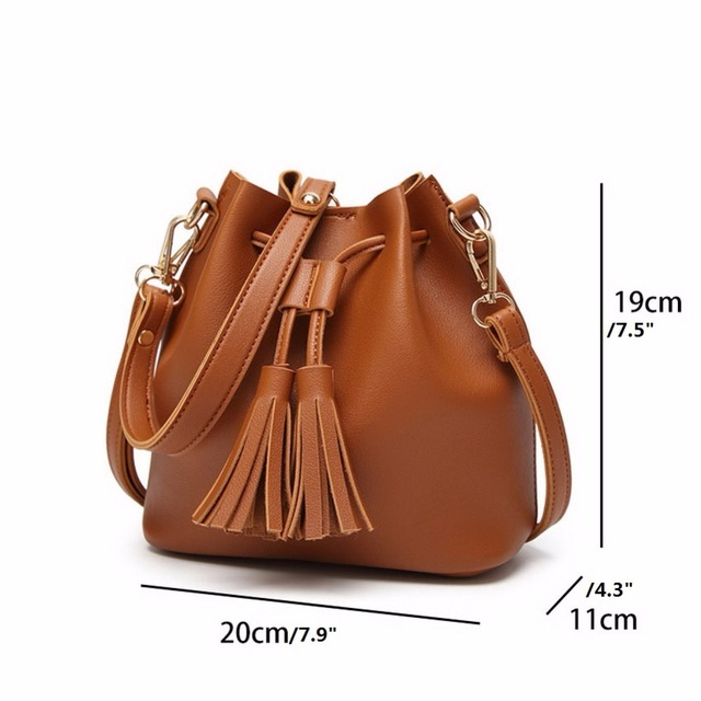 Vintage Fashion Small Women Leather Handbag | Tassel Drawstring Shoulder Bag