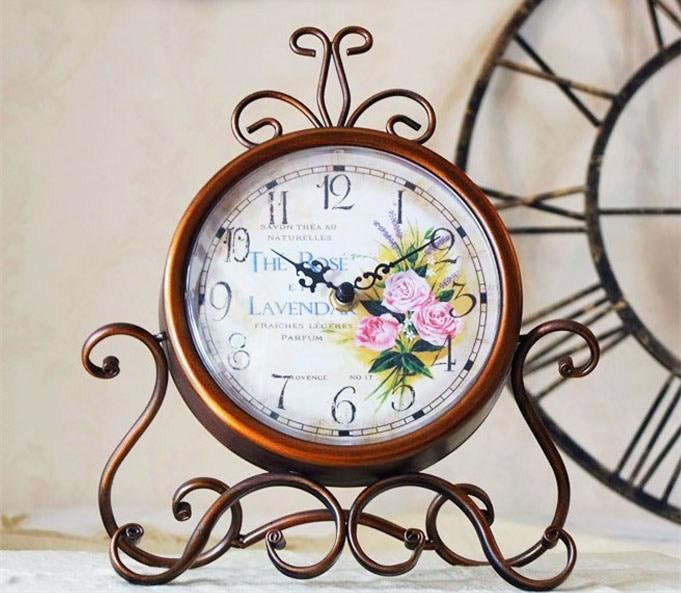 Metal desktop clock mute 12888 clock movement vintage home decoration watch electronic bedroom clock frozen clock mesa de som