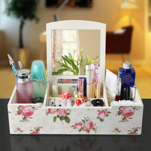 Cosmetic dermoprotector rustic wool box storage multifunctional desktop with mirror finishing