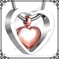 MJD8078 venta caliente urnas de cenizas de Cremación corazón de Joyería de oro rosa de acero inoxidable 316L collares