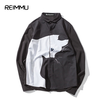 2017 nueva primavera negro/blanco camisa masculina gran tamaño 5XL 4XL mens manga larga famosa marca-ropa camisa masculina Venta caliente