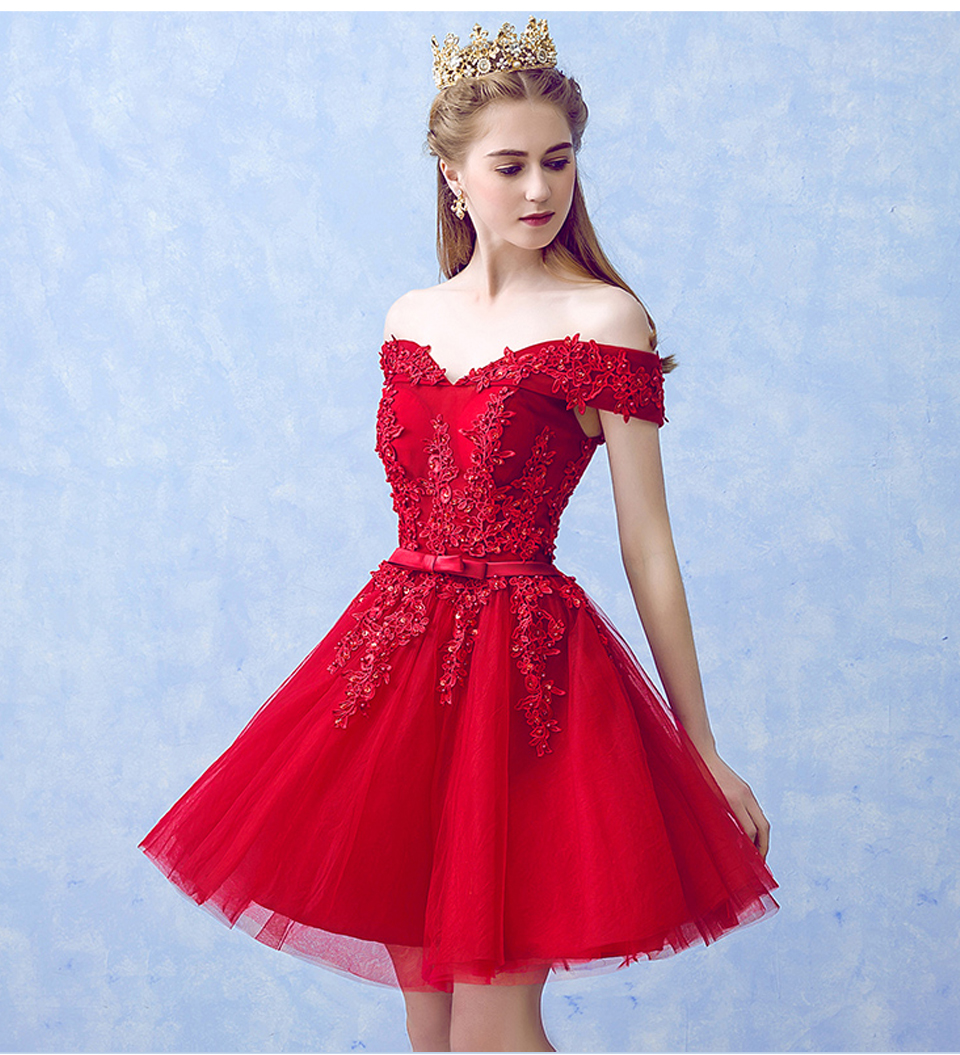LAMYA Sexy Red Lace Elegant Knee Length Prom Dresses 2018 New Arrived Women Beading A Line Evening Party Dress With Bow 12