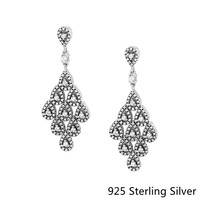 Authentic S925 Sterling Silver Jewelry Cascading Glamour Earrings With Silver Fashion Earrings For Women Fine Jewelry Gift