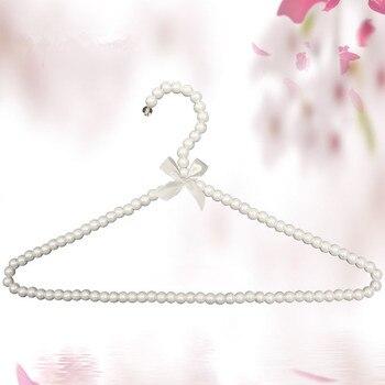 200 unids/lote perchas de plástico blancas de 40cm para adultos perchas de perlas para ropa pinzas de ropa de princesa percha para vestido de boda