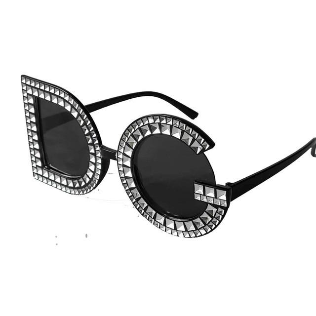 035aa6f40b4d4d Novos óculos de Sol Retros 2019 Diamante Redondo De Cristal Letras DG Óculos  De Sol Dos