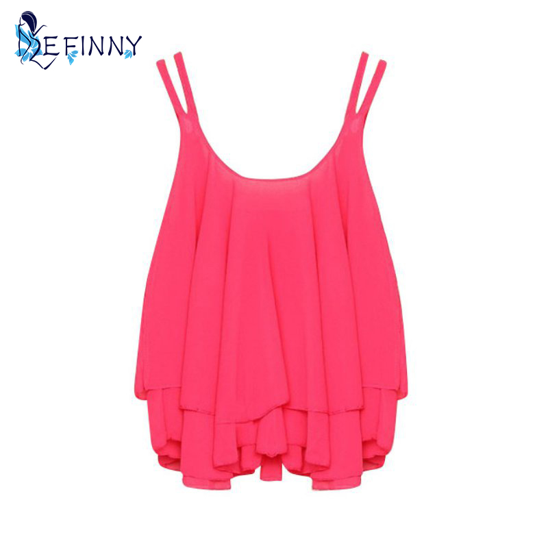 *EFINNY Summer Casual Women Chiffon   Tank     Tops   Double Layer Sleeveless Loose Solid   Tops  *