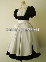 Japanese Girl Lolita Maid Anime Clothes Halloween Black And White Cosplay Costume Dress A0166