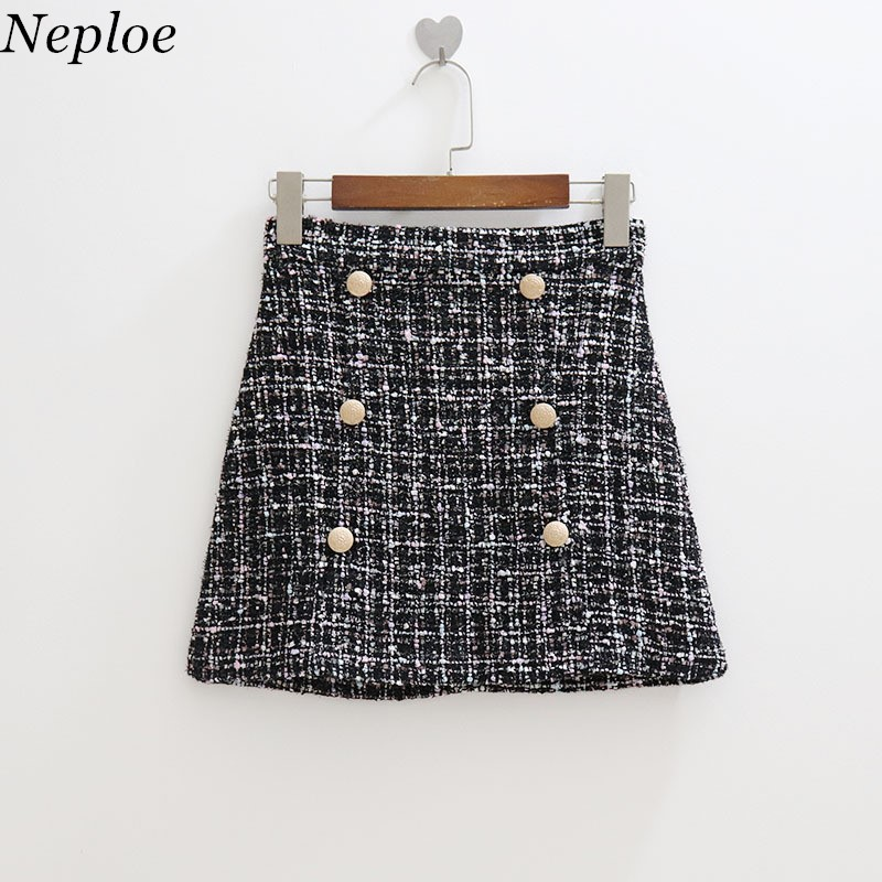 1409f4322f942 Neploe Knitted Sequined Patchwork Mini Skirt Button Plaid Hot Women Skirt  Autumn New A-Line