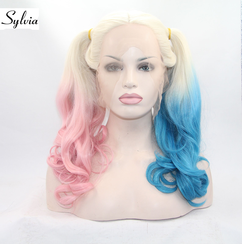 Sylvia Platinum Blonde with Half Pink Half Blue Tips Natural Wave Synthetic Lace Front Wigs 180% Density Two Ponytail Hair salmon
