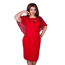 Summer Plus Size Women Hollow Out Cape Red Dress Short Sleeve Party Clubwear Beach 6XL Dresses Large Size