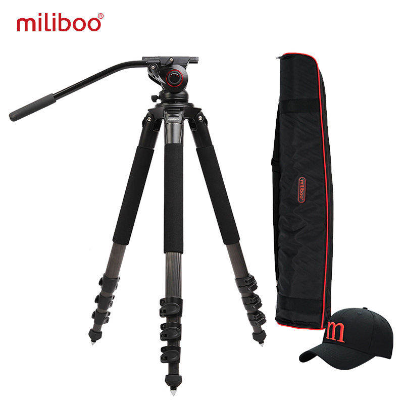 цена на miliboo MTT702B Portable Carbon Fiber Tripod for Professional Camcorder/Video Camera/DSLR Tripod Stand,with Hydraulic Ball Head