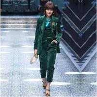 Темно зеленые женские деловые костюмы Комплект из 3 предметов женская рубашка женские брюки костюм офисная Форма Элегантный Костюм со штан