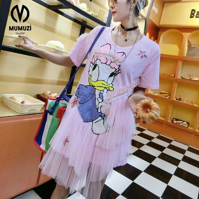 10f65d3987 2017 new women street loose cartoon printing half pink Donald Duck  embroidery dr sleeve fashion cute summer ruffle dress