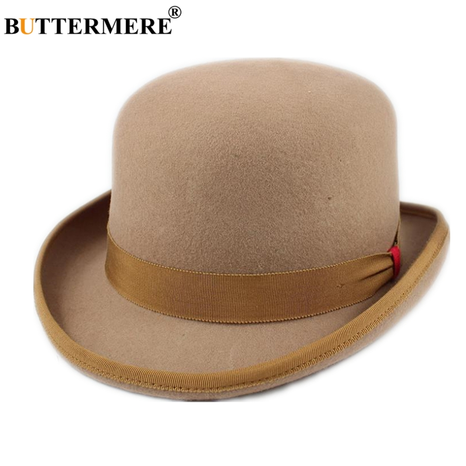 BUTTERMERE Fedora Edge Hat Women Men Wool Magician Top President Bowler For Camel Navy Woolen British Fedoras