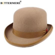 BUTTERMERE Fedora Edge Hat Women Men Wool Magician Top President Bowler For Camel Navy Woolen British Fedoras