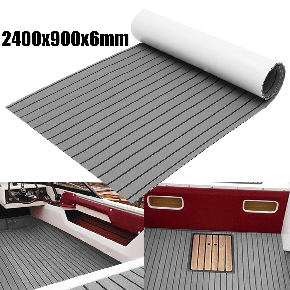 1Roll Self-Adhesive 2400x900x6mm Marine Flooring Faux Teak EVA Foam Boat Decking Sheet  Accessories Floor Mat Decor Gray Carpet