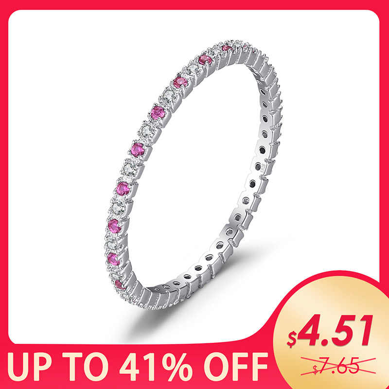 JewelryPalace Exquisite Round Created Ruby Wedding Band Ring For Women Pure 925 Sterling Silver Fine Jewelry Party Accessories