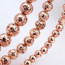 Olingart Natural Volcanic Rock Stone Plating Rose gold Round Beads 4MM 80pcs/6MM 60pcs/8MM 35pcs DIY Necklace Jewelry Making