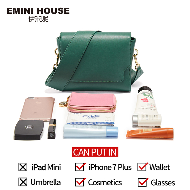 EMINI HOUSE Split Leather Shoulder Crossbody Bags For Women 2018 Solid Color Retro Wide Strap Women Messenger Bags Square Shape Shoulder Bags