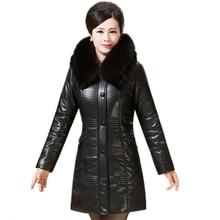 2016 New Winter Coat Women Thicken Fur Collar Warm Alpaca Fiber PU Jacket Slim Women Winter Jacket Plus Size Winter Parka XL-6XL