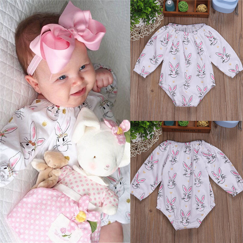 Summer Babys Girls Outfits Romper Infant Baby Girls Cartoon Easter Rabbit Print Long Sleeve Romper Jumpsuit Outfits A84L30