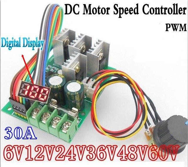 LED 30A PWM Tốc Độ Động Cơ Khiển Kỹ Thuật Số Điều Điều Khiển Hiển Thị Mô đun Chuyển Đổi DC6 60V