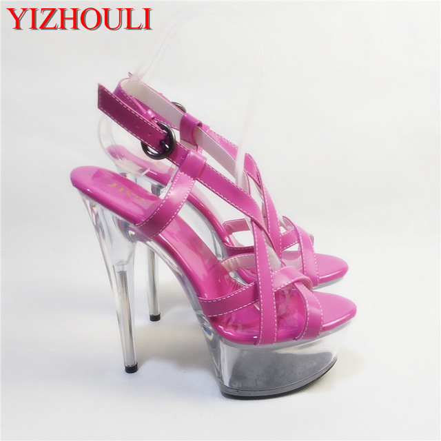 fe253b2c4 SALE 15cm Sexy Super High Heel Platforms Crystal Sandals 6 inch women  summer shoes Exotic Dancer sexy pole dancing shoes