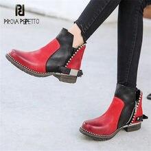 5808c0073 Prova Perfetto hecho a mano las mujeres tobillo botas rojo botas Chelsea  cadenas decoración plataforma zapatos
