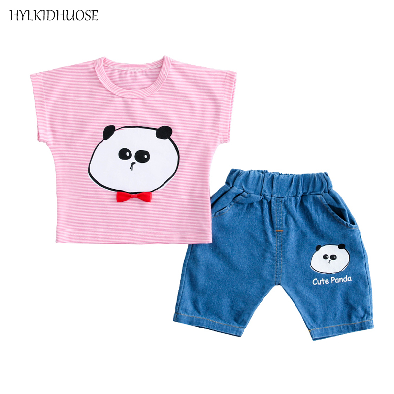 HYLKIDHUOSE Summer Baby Girls Boys Clothing Sets Infant Clothes Stripe Cute Panda T Shirt Denim Shorts Child Kids Clothes Sets