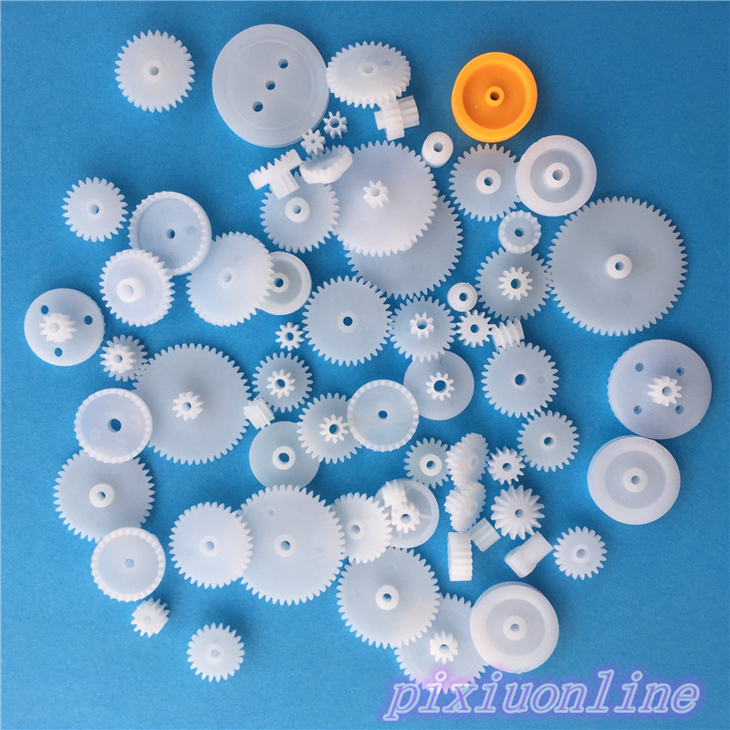 64pcs K013Y Plastic Gear Set Axis Worm Single Double Layer Crown Pulley Belt Gear DIY Toy Parts High Quality On Sale