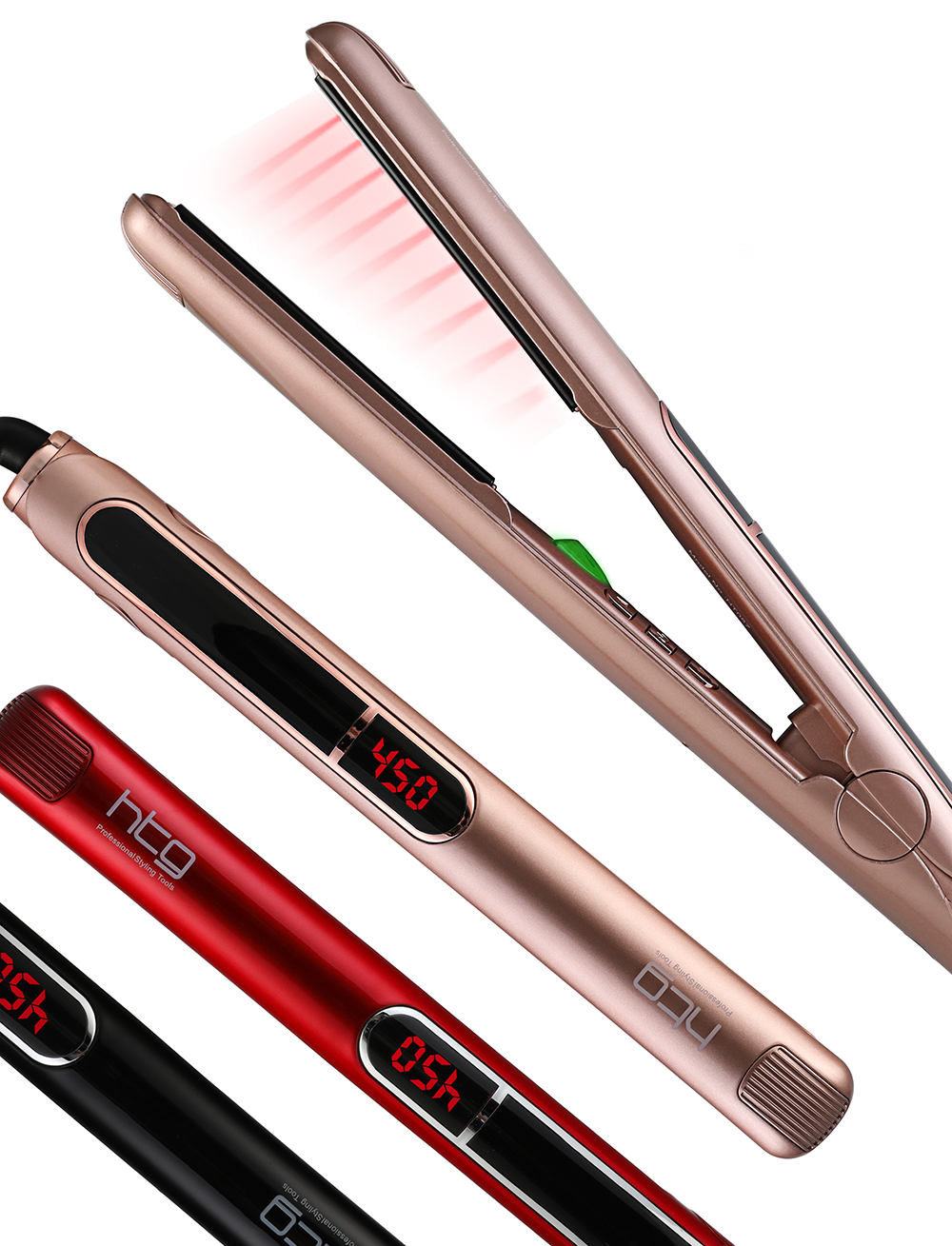 HTG Professional Hair Straightener Hair Flat Iron Negative ION Infrared Hair Straightener Hair straighting Iron LCD Display infrared flat iron hair straightener mch fast heating dual voltage ceramic plates lcd display flat hair straightener irons