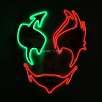 Забавный Новый Дизайн мерцающего EL Провода холодный свет Ужасы маска музыка чувствительных неон, светодиодные полосы Хэллоуин маска для ко...